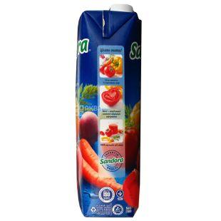 Sandora, Овощной, 0,95 л, Сандора, Сок натуральный, с мякотью