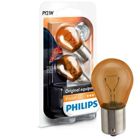 Philips, 2 шт, Лампа накаливания, PY21W