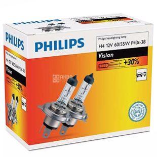 Philips, 2 pcs, Halogen Philips Lamp, H4 Vision, 3200K