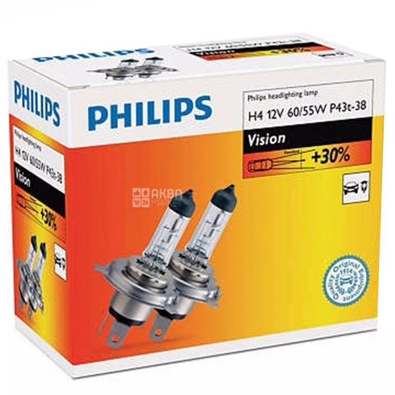 Philips, 2 шт, Лампа галогенна Philips, H4 Vision, 3200K