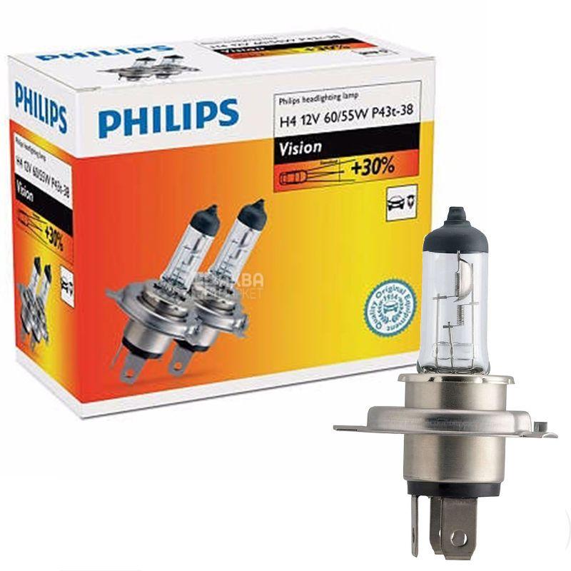 Philips, 2шт, Лампа галогенная Philips, H4 Vision, 3200K
