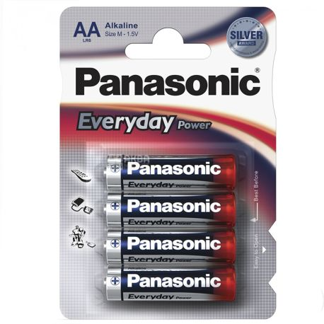 Panasonic, 4 шт., Батарейки, АА, Everyday Power, Alkaline