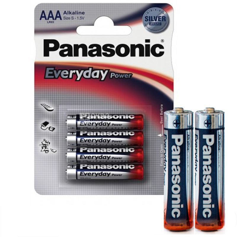 Panasonic, 4 шт., Батарейки, ААА, Everyday Power, Alkaline