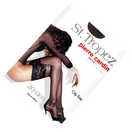 Pierre Cardin St.Tropez, Чулки черные, размер 4, 20 ден