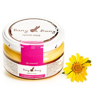 Huny Buny, 250 г, Крем-мед, З квітковим пилком, скло
