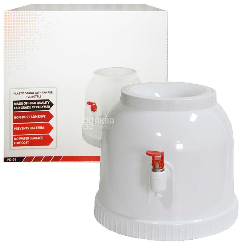 Диспенсер для води, Пластиковий, Білий, Для бутля 18,9 л