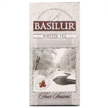 Basilur, Four seasons, Winter tea, 100 г, Чай Базилур, 4 сезона, Зима, черный с клюквой