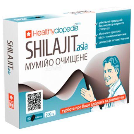 Healthyclopedia, 30 капсул по 200 мг, Мумійо очищене