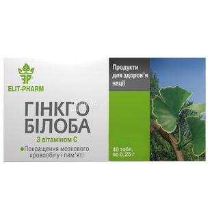 ELIT-PHARM Гінкго Білоба з вітамином С, 40 піг. по 0,25 г, Для кровопостачання головного мозку