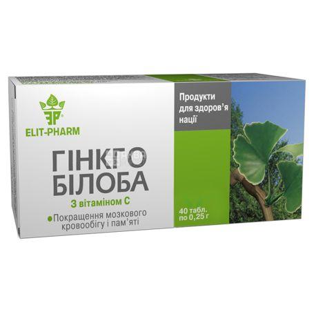 ELIT-PHARM Ginkgo Biloba with vitamin C, 40 tab. on 0,25 g, For blood supply of a brain