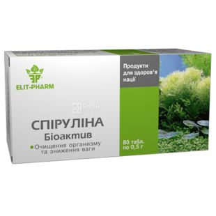 ELIT-PHARM Спіруліна Біоактив, 80 піг. по 0,5 г, Для нормалізації роботи шлунково-кишкового тракту