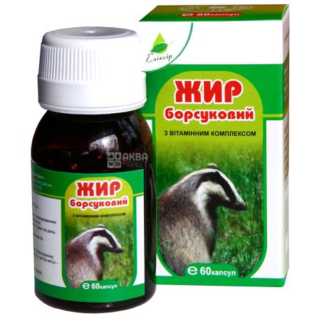 Badger's Fat, With a vitamin complex, 60 capsules, 0.3 g each, Elixir
