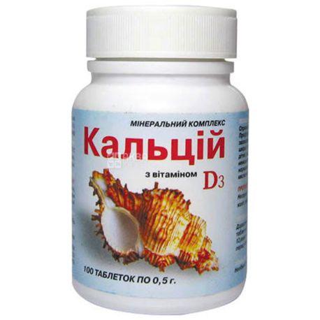ELIT-PHARM Кальцій з вітаміном D3, 100 піг. по 0,5 г, Для корекції раціону харчування