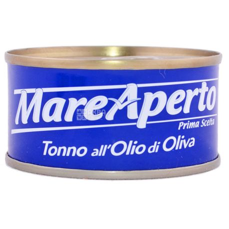 Mare Aperto, 80 г, Тунец, Филе в оливковом масле, Tonno all Olio di Oliva, ж/б