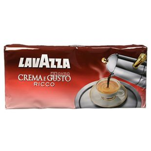 Lavazza, Crema e gusto Ricco, 1 кг (4 шт. Х 250 г), Кава Лаваца, Крему е густо Рікко, темного обсмаження, мелена