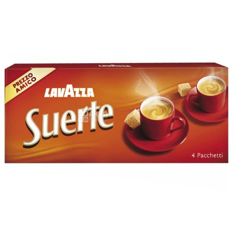 Lavazza, Suerte, 1 кг (4 шт. х 250 г), Кофе Лавацца, Сиерте, средней обжарки, молотый