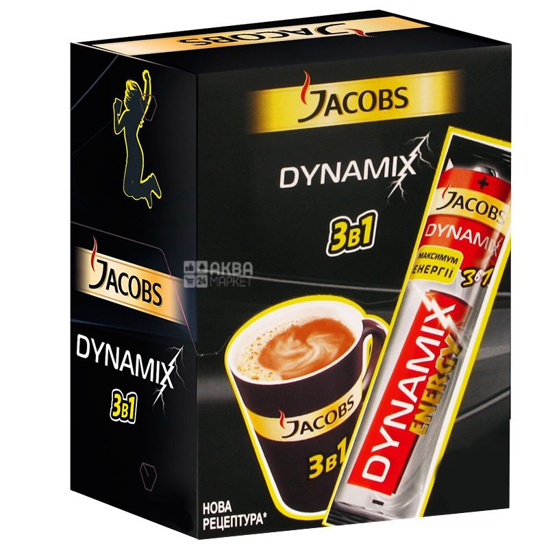 Jacobs Dynamix, 3 in 1, Coffee drink in sticks, 24 pcs. 12.5 g each