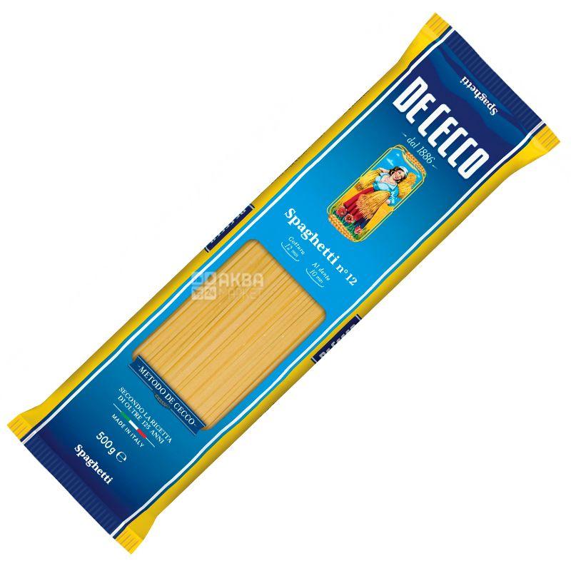 De Cессо Spaghetti № 12, 500 г, Макарони Де Чекко Спагетті