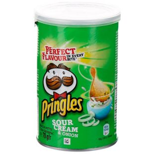 Pringles, 70 г, Чипси картопляні, Sour cream & onion, тубус