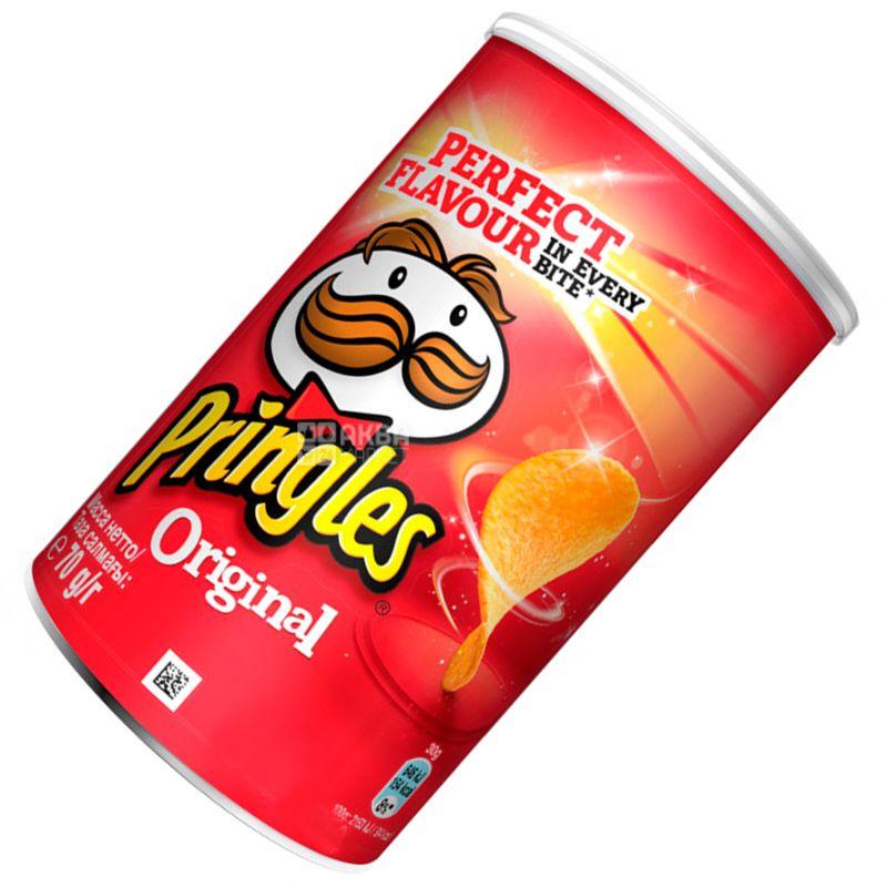 Pringles, 70 г, Чипсы картофельные, Original, тубус