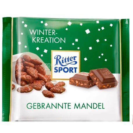 Ritter Sport, 100 г, Молочный шоколад, Миндаль в карамели