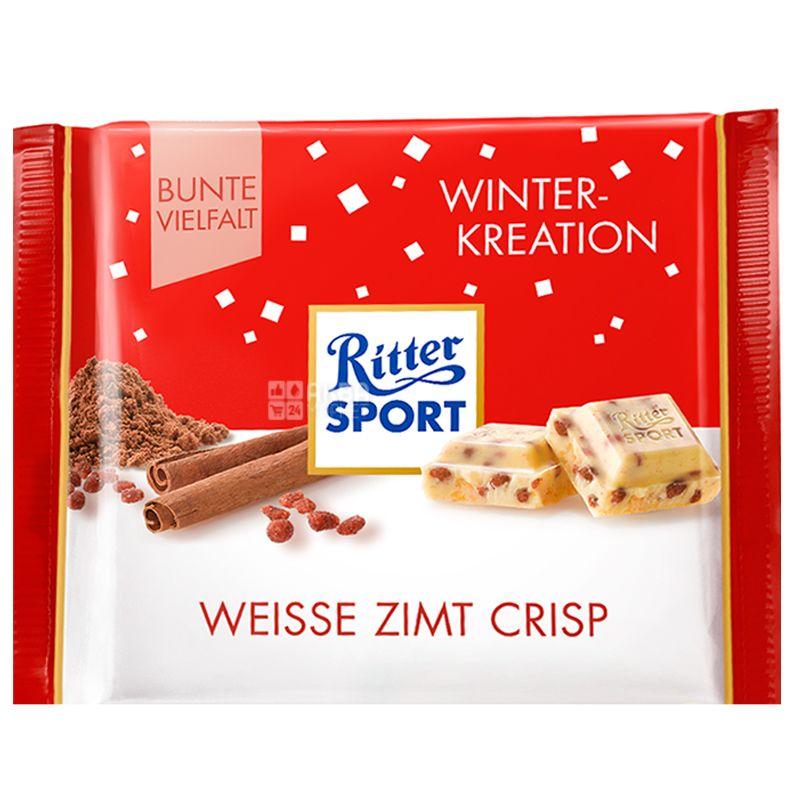 Ritter Sport, 100 г, Белый шоколад, Корица и хрустящие хлопья