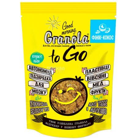 Good Morning, to Go, 140 г, Гранола Гуд Монінг, ту Гоу, вівсяні пластівці, мед, фінік, кокос, фрукти