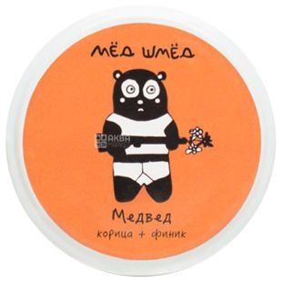 Мед шмед, 150 г, Мед, Медвед, Кориця+фінік, скло