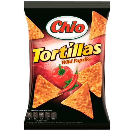 Chio, 125 г, Чипсы кукурузные, Tortillas, Wild Paprika