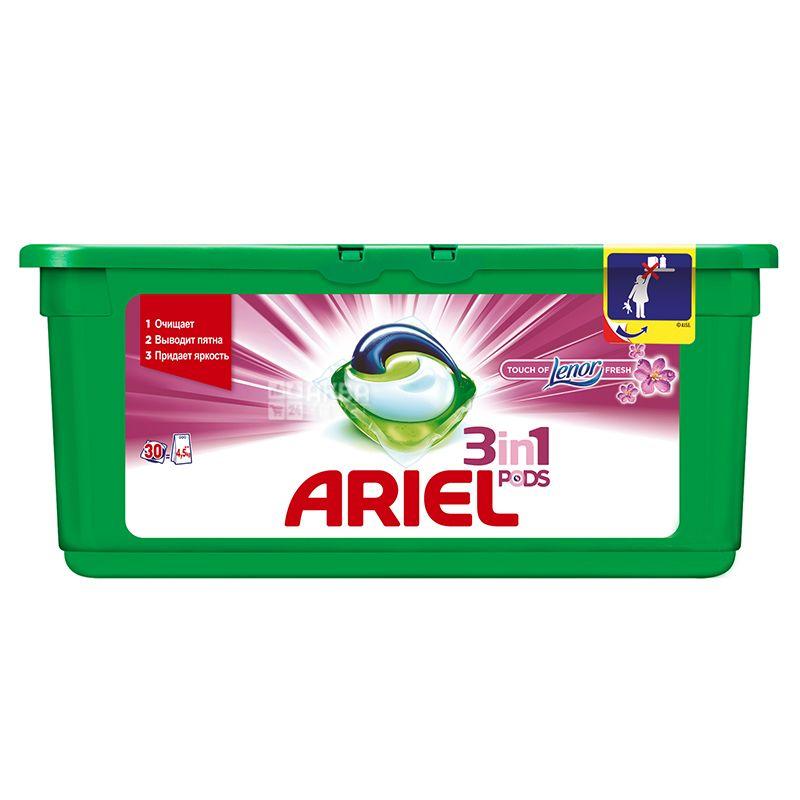 Ariel, 30 шт., Капсулы для стирки, 3 в 1, Pods, Touch of Lenor fresh, Автомат
