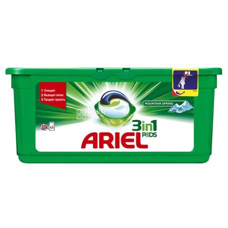 Ariel, 30 шт., Капсулы для стирки, 3 в 1, Pods, Mountain spring, Автомат