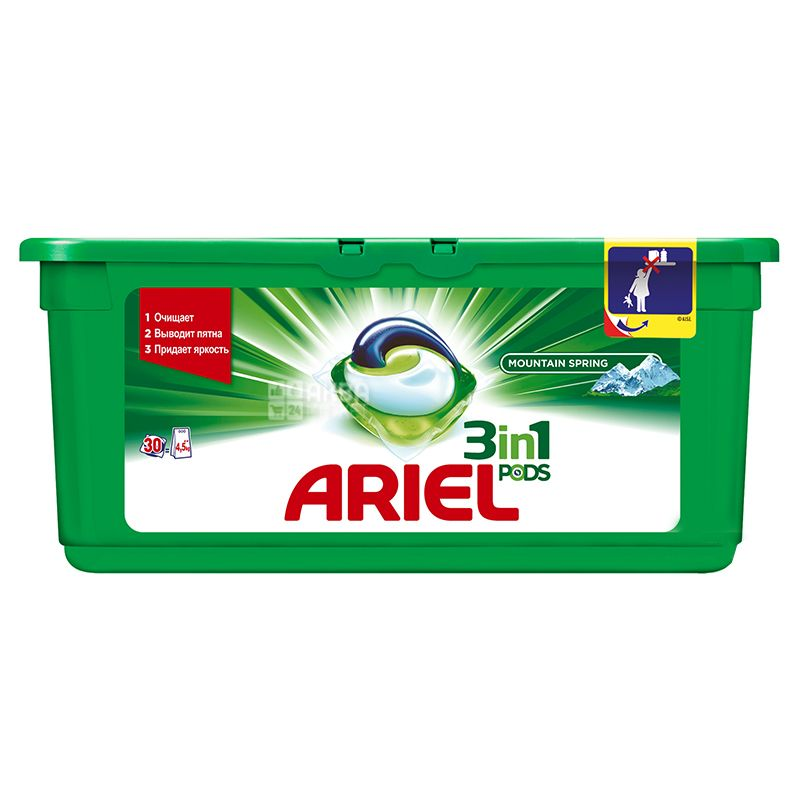 Ariel, 30 pcs., Washing Capsules, 3 in 1, Pods, Mountain spring, Automatic