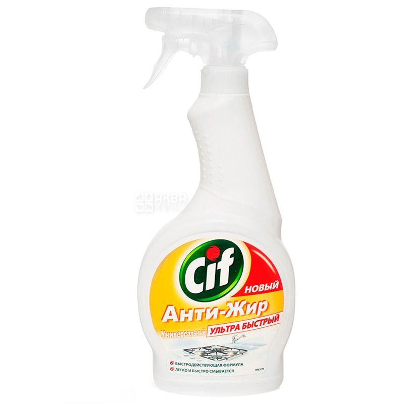 Cif, Средство моющее для кухни, Анти-жир, Универсальный, Ультра быстрый, 500 мл