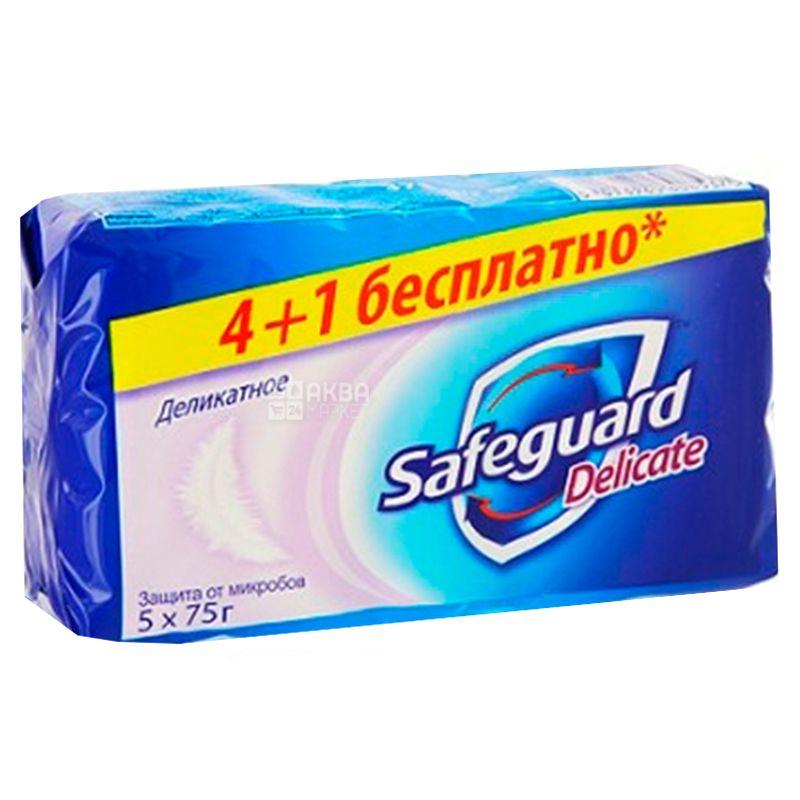 Safeguard, 5 шт. по 75 г, Мило, Delicate