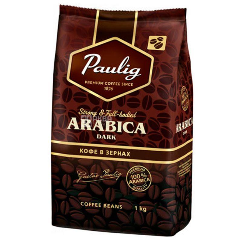 Paulig Arabica Dark, 1 кг, Кофе Паулиг Арабика Дарк, темной обжарки, в зернах