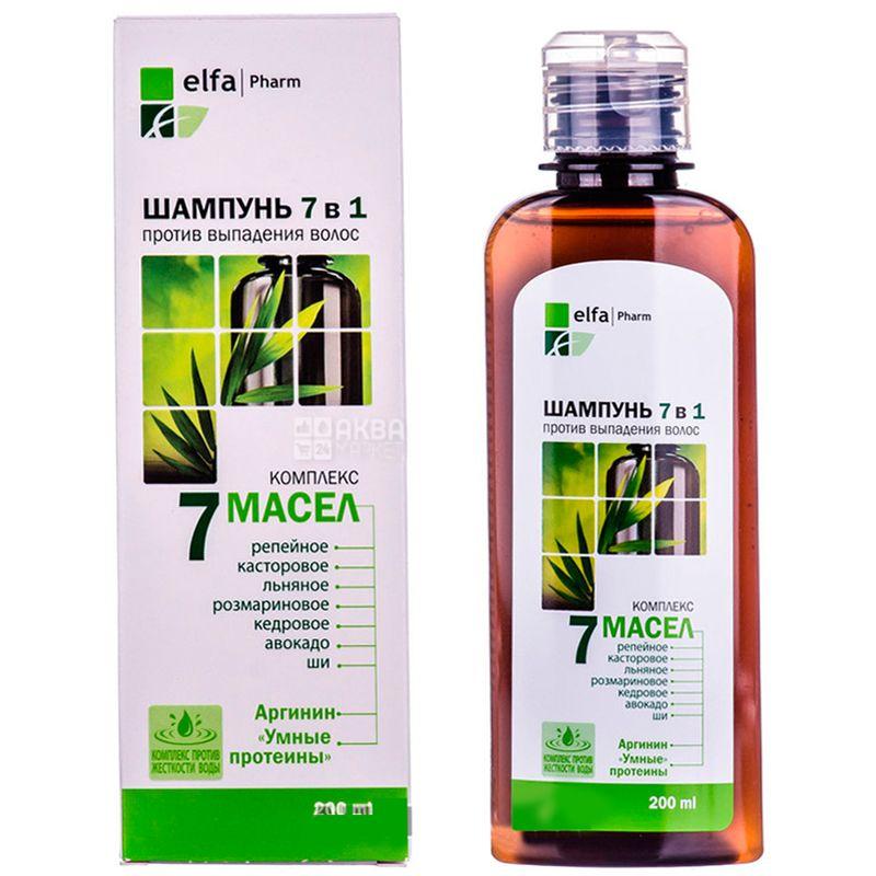 Elfa Pharm, 200 мл, Шампунь для волос, Комплекс 7 масел, Против выпадения