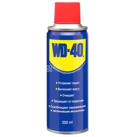 WD-40, 200 мл, Смазка, Спрей, ж/б