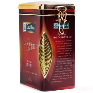 Qualitea, Golden Leaf, Deluxe, 250 г, Чай Кволити, Золотой лист, черный, крупнолистовой, ж/б