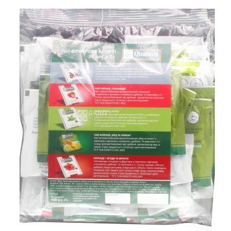 Qualitea, Фруктове асорті, 50 пак., Чай Кволіті, 5 видів чаю, HoReCa