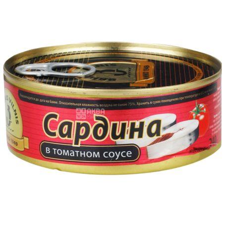 Brivais Vilnis, 240 г, Сардина в томатном соусе, ж/б