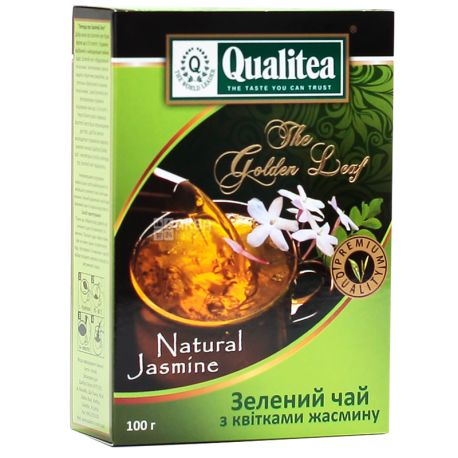 Qualitea, Natural Jasmine, 100 г, Чай Кволити, зеленый с жасмином