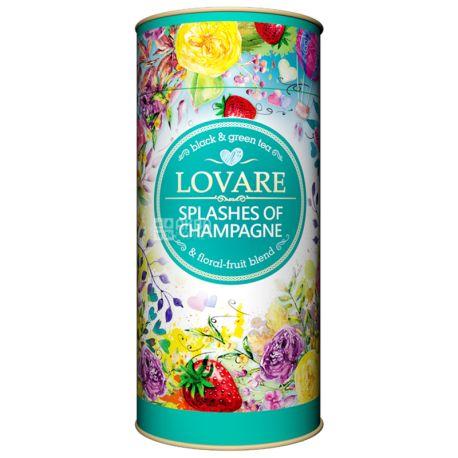 Lovare, 80 г, Чай Ловара, Бризки шампанського, суміш чорного і зеленого, тубус