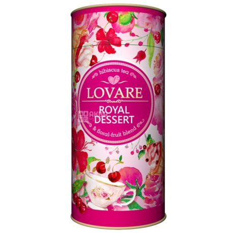 Lovare, Royal Dessert, 80 г, Чай Ловаре, Королевский десерт, Каркаде, тубус