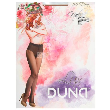 Duna, 20 ден, размер 3, Колготки полиамидные, Женские, Naked, Бежевые