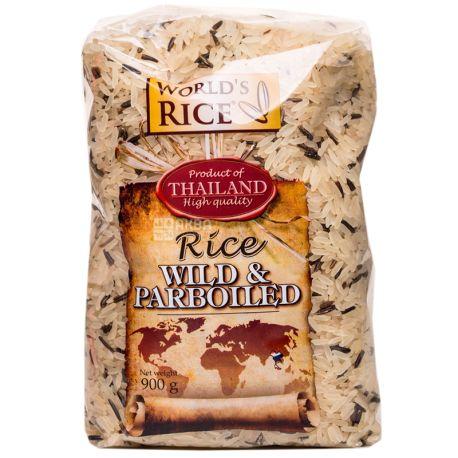 World's Rice, Wild & Parboiled, 0,9 кг, Рис Ворлдс Райс, Вайлд энд Парбоилд, дикий и пропаренный