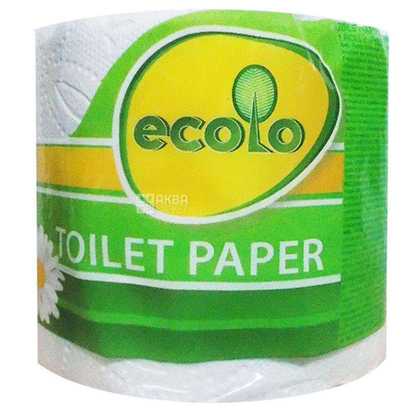 Ecolo, 1 рул., Туалетная бумага, Двухслойная, Белая