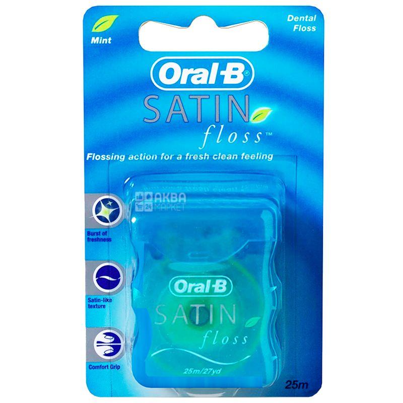 Oral-B, 25 м, Зубная нить, Satin floss, Мята