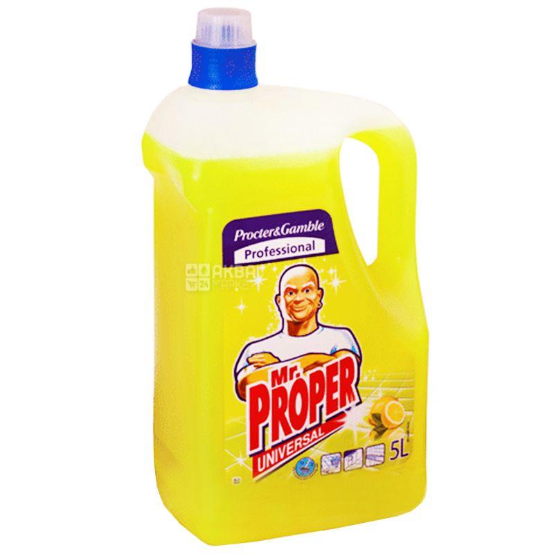 Mr. Proper, Средство для мытья полов и стен, Дезинфицирующее, Лимон, 5 л