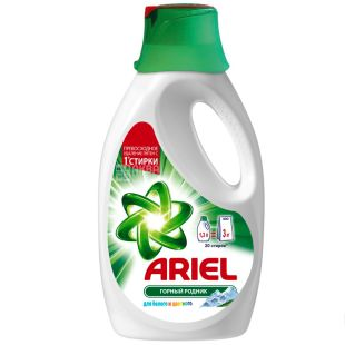 Ariel, 1,3 l, Powder liquid, For white and color linen, Mountain spring, For all types of washing