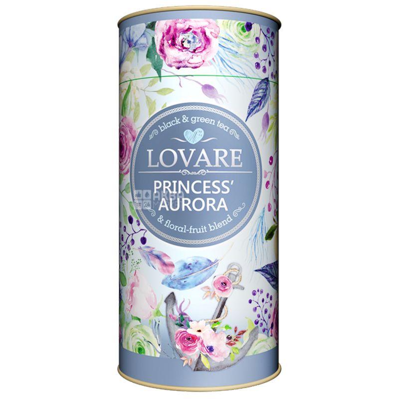 Lovare, Princess Aurora, 80 г, Чай Ловаре, Принцесса Аврора, Смесь черного и зеленого, тубус